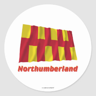 Northumberland Waving Flag with Name Classic Round Sticker