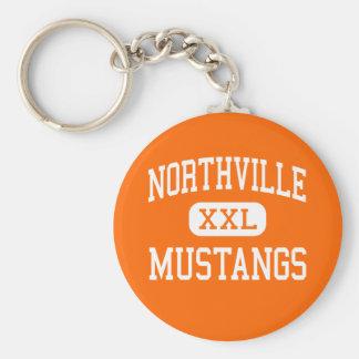 Northville - Mustangs - High - Northville Michigan Basic Round Button Keychain
