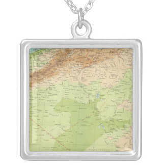 Northwest Africa with shipping routes Silver Plated Necklace