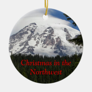 Northwest Christmas Photo Ceramic Ornament