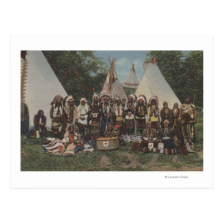 Northwest Indians at a Pow Wow before War Postcard