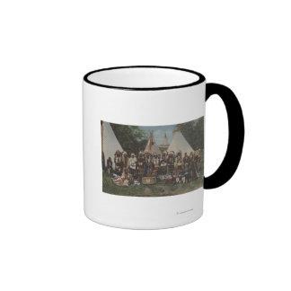 Northwest Indians at a Pow Wow before War Ringer Mug