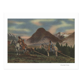Northwest Indians on Horseback Hunting Postcard