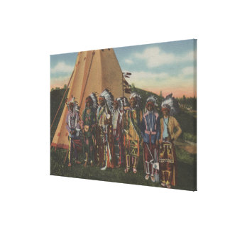 Northwest Indians - Row of Indian Chiefs in War Canvas Print