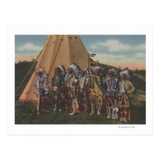 Northwest Indians - Row of Indian Chiefs in War Postcard