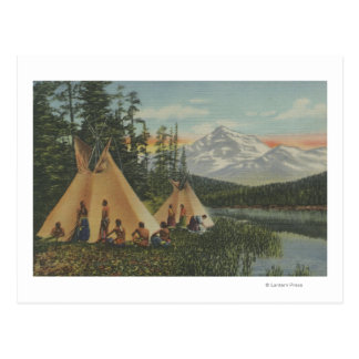 Northwest Indians - Two Teepees Near Mountain Postcard