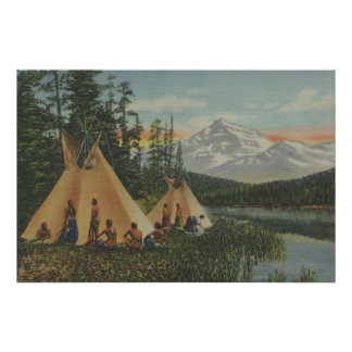 Northwest Indians - Two Teepees Near Mountain Poster