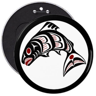 Northwest Pacific coast Haida art Salmon 6 Inch Round Button