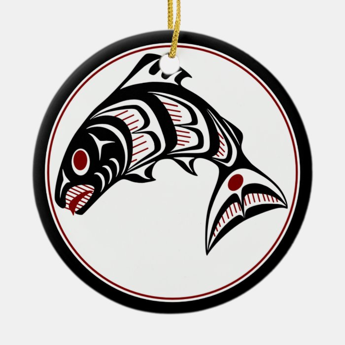 Northwest Pacific coast Haida art Salmon Ceramic Ornament