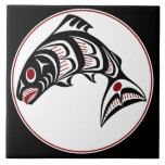 "Northwest Pacific coast Haida art Salmon Ceramic Tile<br><div class=""desc"">You can&#39;t go wrong with Northwest coast Haida art,  it&#39;s been popular for decades.These First Nations designs are ideal for apparel and always look good.</div>"