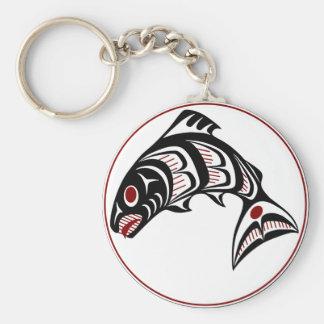 Northwest Pacific coast Haida art Salmon Keychain