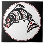 Northwest Pacific coast Haida art Salmon Large Square Tile