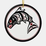 Northwest Pacific coast Haida art Salmon Double-Sided Ceramic Round Christmas Ornament