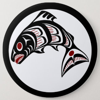 Northwest Pacific coast Haida art Salmon Pinback Button