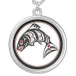 Northwest Pacific coast Haida art Salmon Round Pendant Necklace