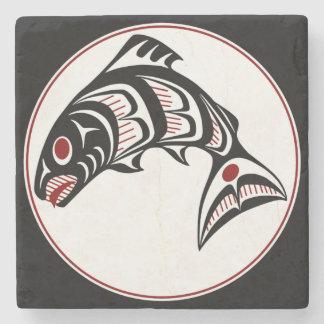 Northwest Pacific coast Haida art Salmon Stone Coaster