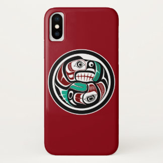 Northwest Pacific coast Otter chasing Salmon iPhone X Case