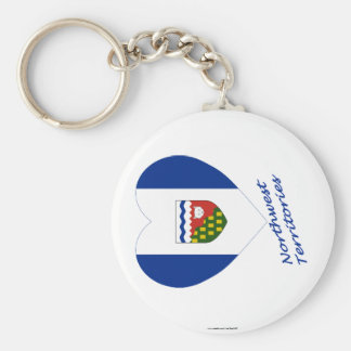 Northwest Territories Flag Heart with Name Basic Round Button Keychain