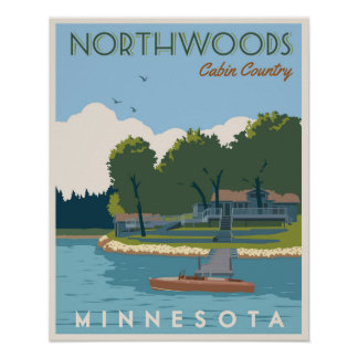 Northwoods Cabin Country Poster
