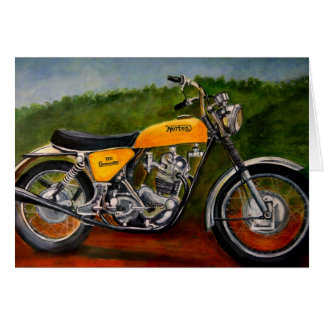 norton commando motorbike yellow card