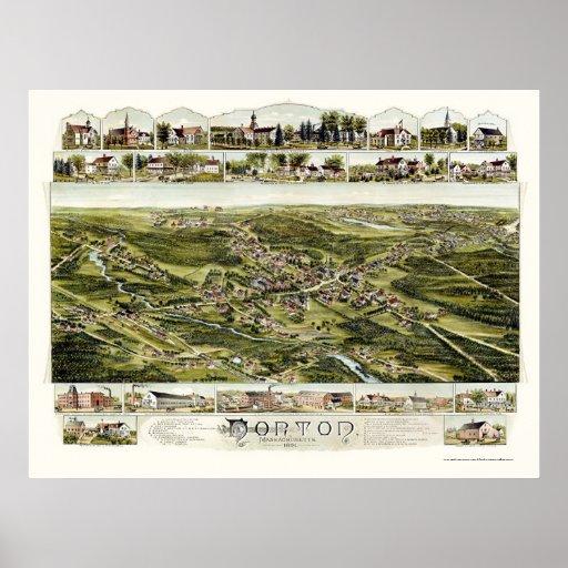 Norton, mapa panorámico del mA - 1891 Póster