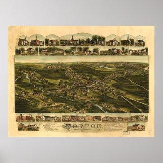 Norton Massachusetts 1891 Antique Panoramic Map Poster