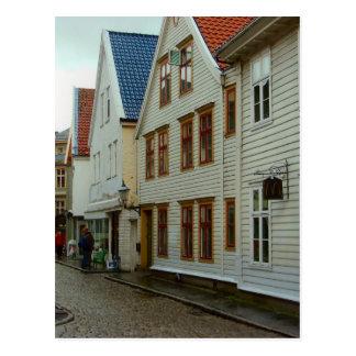 Noruega, Bergen, casas de madera y adoquines Postales