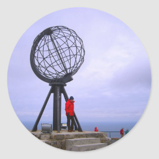 Noruega, cabo del norte, símbolo del globo pegatina redonda