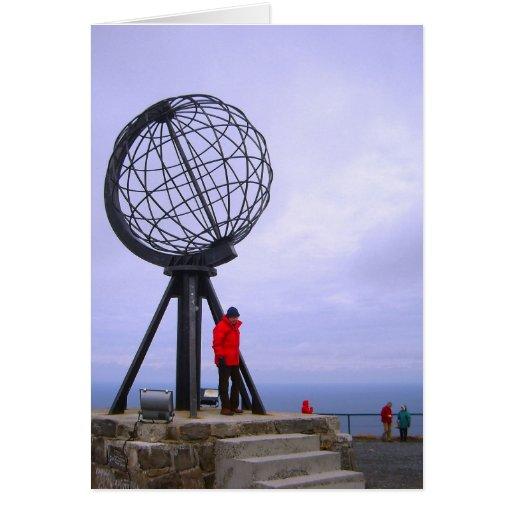 Noruega, cabo del norte, símbolo del globo tarjeta de felicitación