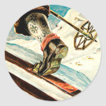 Noruega - casera de arte del viaje del esquí etiqueta redonda