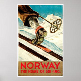 Noruega - casera de arte del viaje del esquí póster