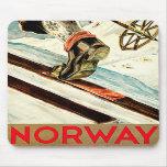 Noruega - casera de arte del viaje del esquí tapete de raton