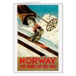 Noruega - casera de arte del viaje del esquí felicitaciones