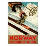 Noruega - casera de arte del viaje del esquí tarjeta