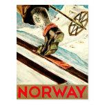 Noruega - casera de arte del viaje del esquí tarjeta postal