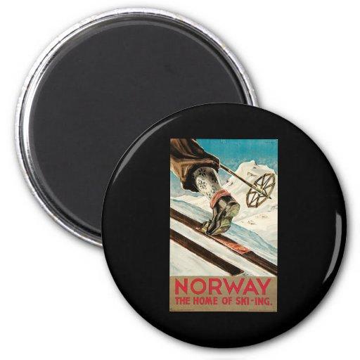 Noruega el hogar del esquí imán redondo 5 cm