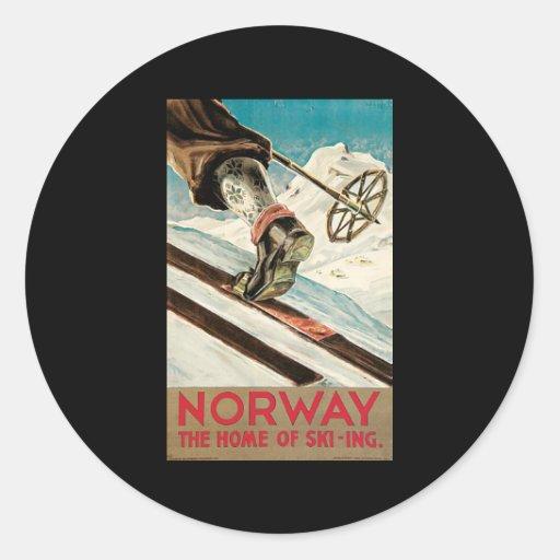 Noruega el hogar del esquí pegatina redonda