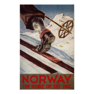 Noruega - el hogar del esquí póster