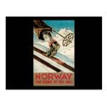 Noruega el hogar del esquí tarjeta postal