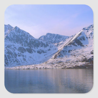 Noruega, entrada a un fiordo calcomania cuadradas personalizadas