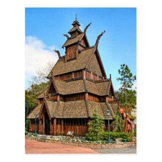 Noruega iglesia del bastón postal