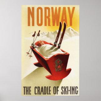 Noruega - la cuna del esquí póster