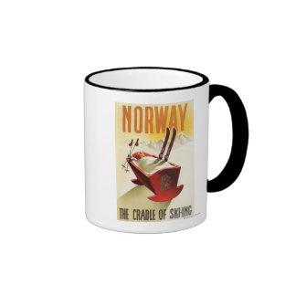 Noruega - la cuna del esquí taza a dos colores