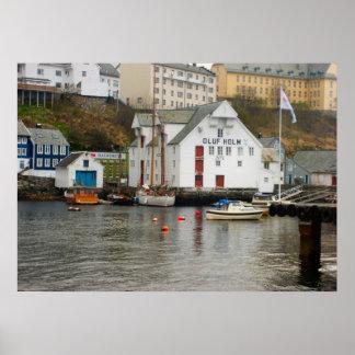Noruega, puerto deportivo en el jefe de un fiordo póster