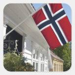 Noruega, Stavanger. Vistas céntricas históricas Pegatina Cuadrada