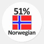Noruego del 51% pegatina redonda