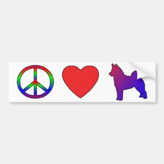 Noruego Elkhounds del amor de la paz Pegatina De Parachoque
