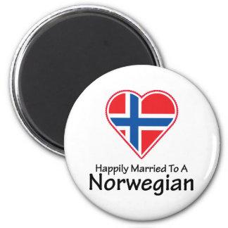 Noruego feliz casado imán redondo 5 cm