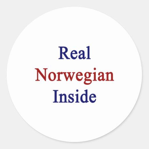 Noruego real dentro pegatina redonda