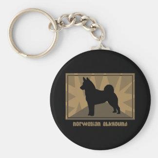 Noruego terroso Elkhound Llavero Redondo Tipo Pin
